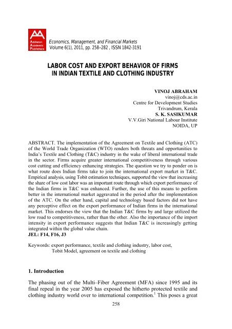 Labour Cost and Export Behaviour of Firms  pdf - VV Giri