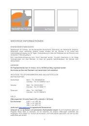 WICHTIGE INFORMATIONEN - Wavefactory