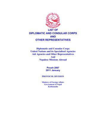 list of diplomatic and consular corps and other representatives
