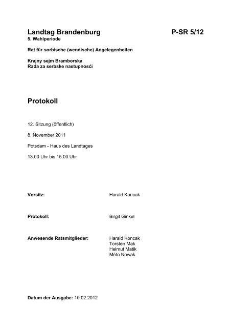 Landtag Brandenburg P-SR 5/12 Protokoll