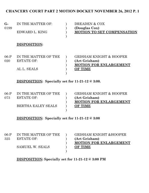 chancery court part 2 motion docket november 26