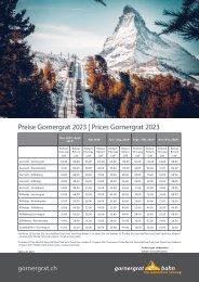 Preise Gornergrat Bahn 2021