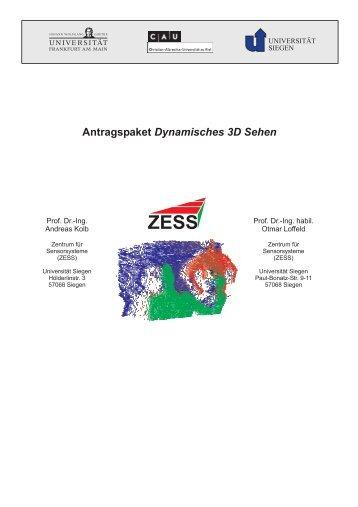 Antragspaket Dynamisches 3D Sehen - im ZESS - Universität Siegen