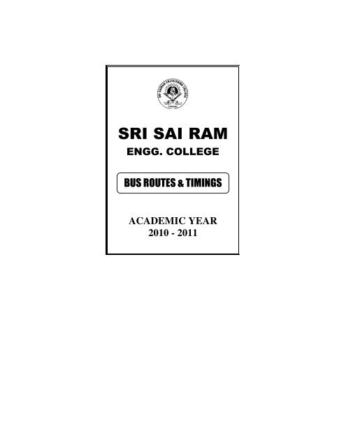 bus routes & timings - Sri Sai Ram Engineering College