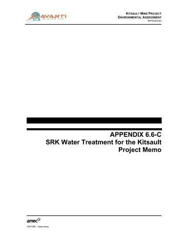 APPENDIX 6.6-C SRK Water Treatment for the Kitsault Project Memo