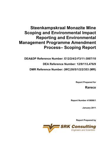 Steenkampskraal Monazite Mine Scoping and ... - SRK Consulting