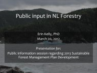 Public input in NL Forestry - Department of Natural Resources