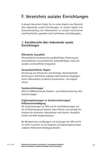 F. Verzeichnis sozialer Einrichtungen - Reformierte Kirchen Bern ...