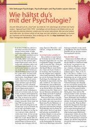 Wie hältst du's mit der Psychologie? - Klinik Hohe Mark