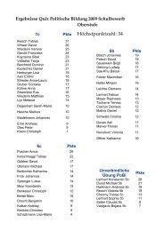 Ergebnisse Quiz Politische Bildung 2009 Schulbewerb Oberstufe