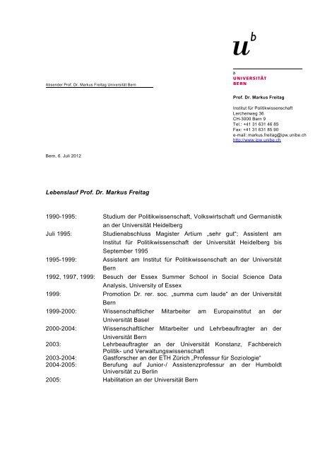 Lebenslauf Und Publikationen Pdf 124kb Institut Fur