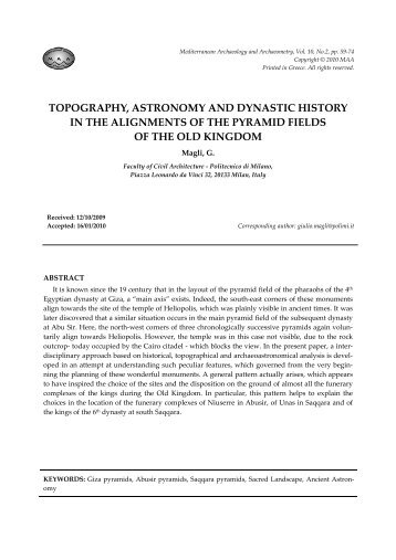 topography, astronomy and dynastic history in the alignments