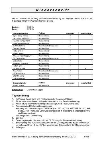 Page 1 Niederschrift der 22. Sitzung der Gemeindevertretung am ...