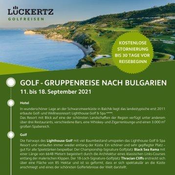 Golf-Gruppenreise nach Bulgarien 2021
