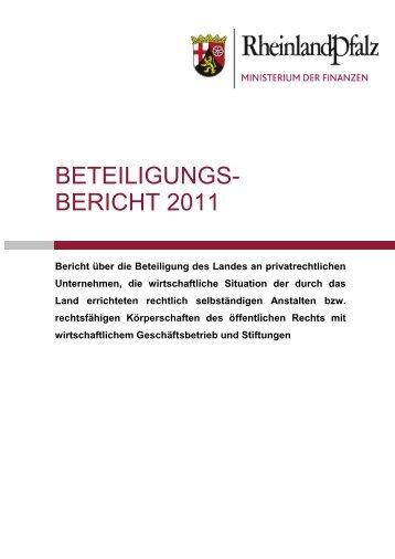 Beteiligungsbericht 2011 - Finanzministerium Rheinland-Pfalz