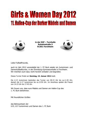 Liebe Fußballfreunde, auch im Jahr 2012 ... - 1. FC Burk eV