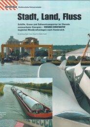 Stadt, Land, Fluss Schiffe, Krane und Schwertransporter im