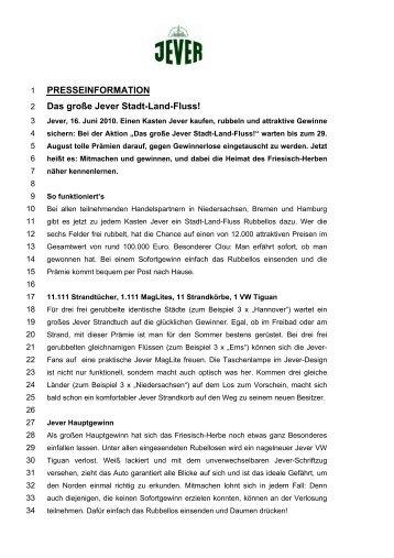 PRESSEINFORMATION Das große Jever Stadt-Land-Fluss!