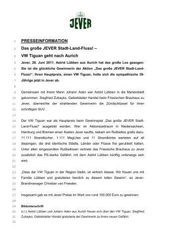 PRESSEINFORMATION Das große JEVER Stadt-Land-Fluss! – VW ...