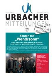 """Konzert mit """"Wendrsonn"""" - Gemeinde Urbach"""