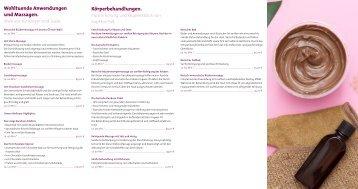 Preisliste für Wellness-Angebote in Dransfeld