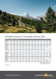 Fahrplan Sommer 2021