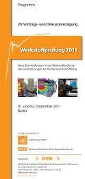 Programm - Werkstoffprüfung 2011 (pdf, 450 kB) - Plasticker