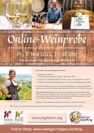 Online-Weinprobe am 7. Mai 2021 19 Uhr