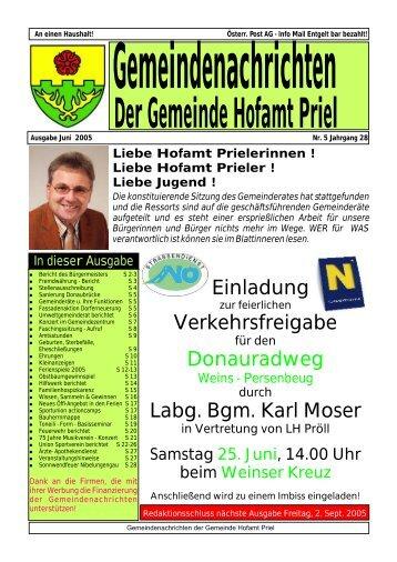 ab 19.00 Uhr - Gemeinde Hofamt Priel