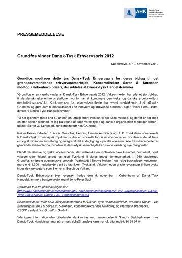 Grundfos vinder Dansk-Tysk Erhvervspris 2012