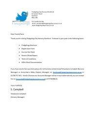 Fledgelings Romford Pack letter