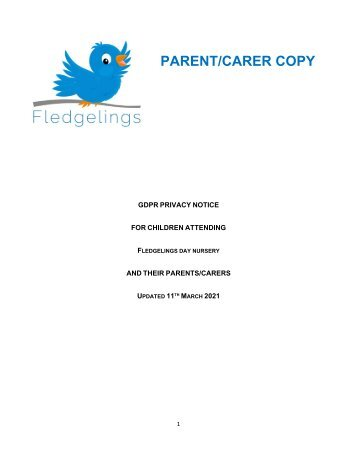 Fledgelings GDPR PRIVACY NOTICE PARENTS