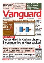 26042021 - Doctor killed in Kaduna church, 8 communities in Niger sacked