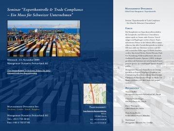 "Seminar ""Exportkontrolle & Trade Compliance – Ein ... - Amber Road"