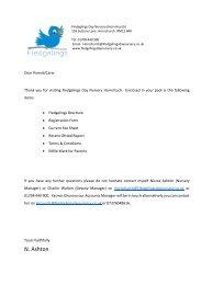 Fledgelings Hornchurch Pack letter
