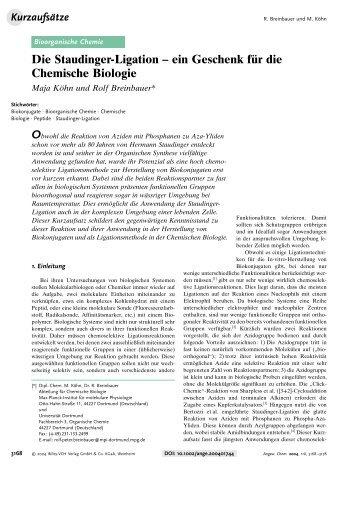 Die Staudinger-Ligation - Institut für Organische Chemie