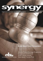 Synergy #33 Spring edition 2003 - European Law Students ...