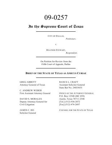 brief of the state of texas as amicus curiae - Supreme Court of Texas