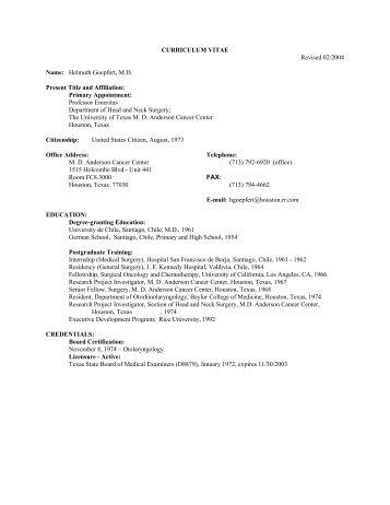Helmuth Goepfert, M.D.: Short CV