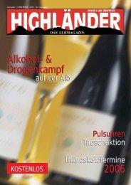 Alkohol - Highländer Albmagazin