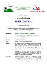 Ausschreibung ADRIA - CUP 2012 - Stanka KRISTL!