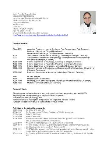 Prof. Dr. Frank Birklein - FTN - Johannes Gutenberg-Universität Mainz