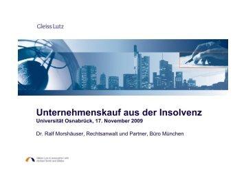 Unternehmenskauf aus der Insolvenz Kaufgegenstand - Universität ...