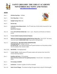 News & Notes - November 2012 - St. Gregory the Great Academy