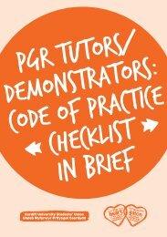 PGR Tutors / Demonstrators: Code of Practice Checklist in brief