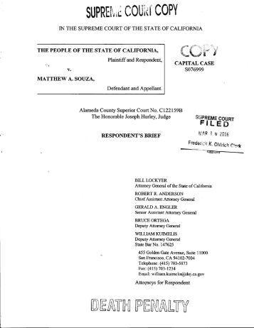 Respondent's Brief - California Courts - State of California