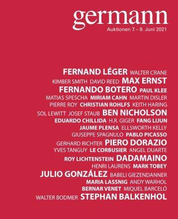 Kunst Auktion 7. - 9. Juni 2021, Germann Auktionshaus, Zürich