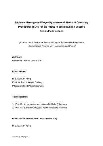 """Modellprojekt """"Implementierung von Pflegediagnosen und Standard ..."""