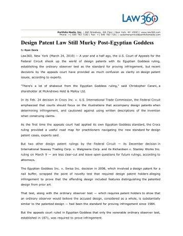Design Patent Law Still Murky Post-Egyptian Goddess - Amster ...