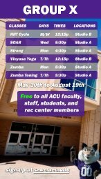 ACU's Summer Group Exercise Schedule
